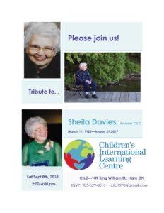 Final Tribute to Sheila Davies flyer